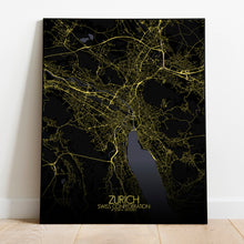 Load image into Gallery viewer, Mapospheres zurich Night full page design poster city map