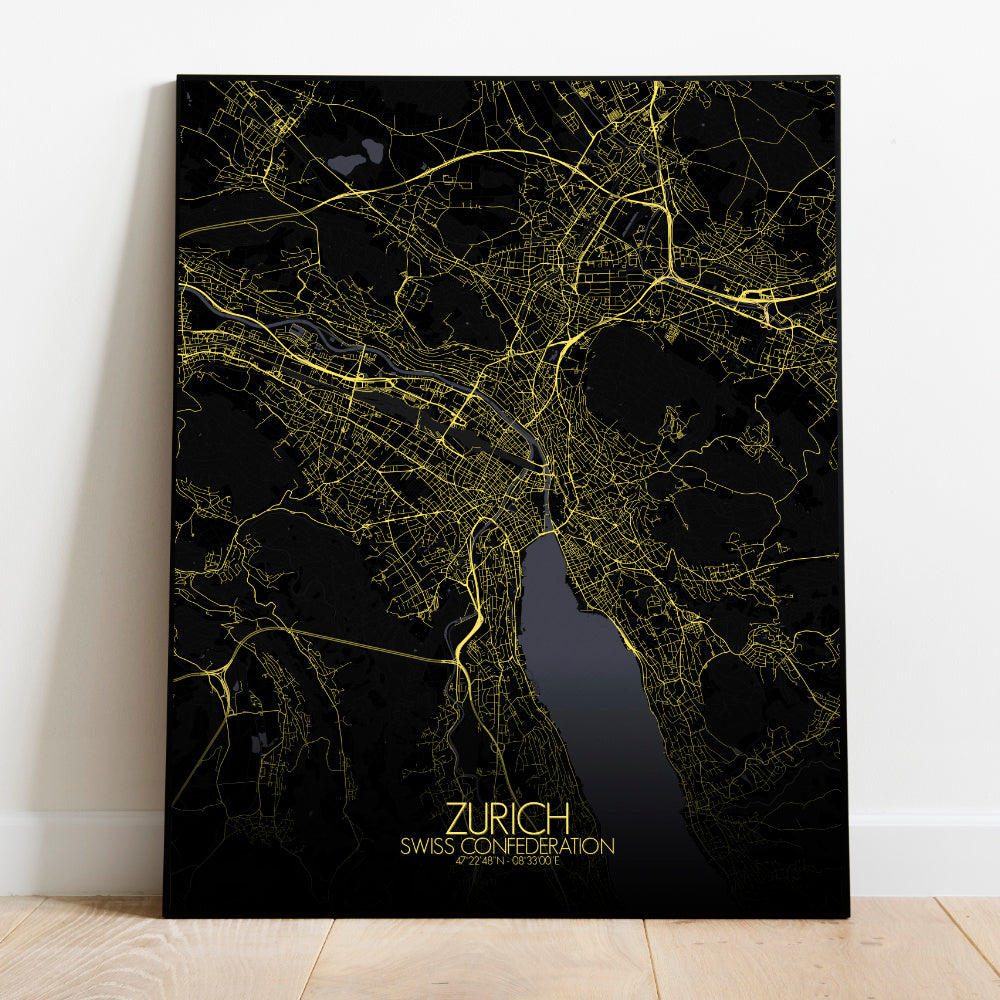 Mapospheres zurich Night full page design poster city map