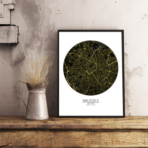 Mapospheres Brussels Night round shape design poster city map