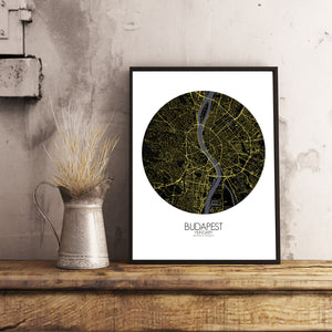 Mapospheres budapest Night round shape design poster city map