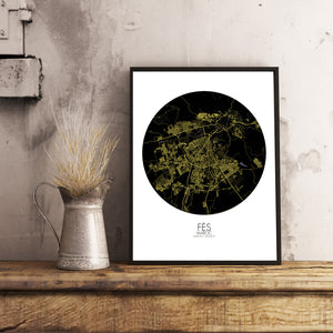 Mapospheres fez Night round shape design poster city map
