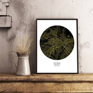Mapospheres sofia Night round shape design poster city map