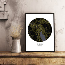 Load image into Gallery viewer, Mapospheres zurich Night round shape design poster city map