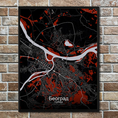 Mapospheres Belgrade Red dark full page design poster city map