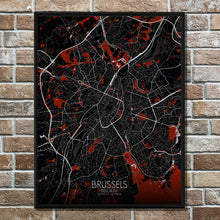 Load image into Gallery viewer, Mapospheres Brussels Red dark full page design poster city map