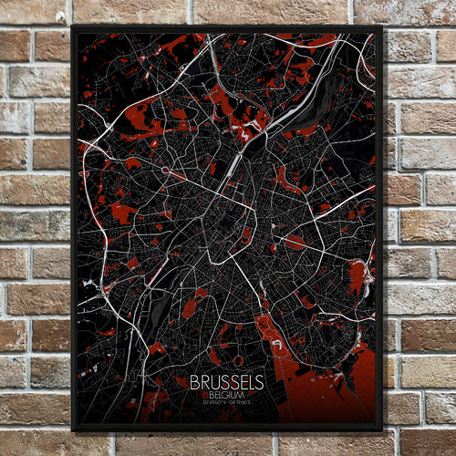 Mapospheres Brussels Red dark full page design poster city map