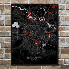 Load image into Gallery viewer, Mapospheres Dublin Red dark full page design poster city map