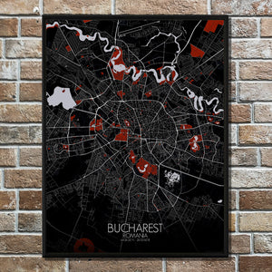 Mapospheres Dublin Red dark full page design poster city map