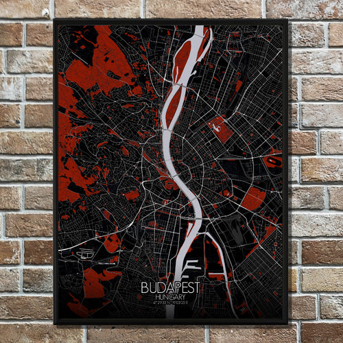 Mapospheres budapest Red dark full page design poster city map
