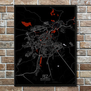 Mapospheres fez Red dark full page design poster city map