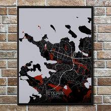 Load image into Gallery viewer, Mapospheres reykjavik Red dark full page design poster city map