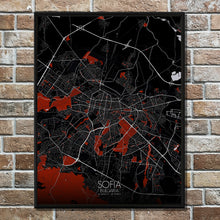 Load image into Gallery viewer, Mapospheres sofia Red dark full page design poster city map