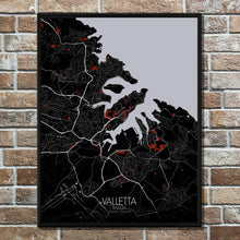 Load image into Gallery viewer, Mapospheres valletta Red dark full page design poster city map