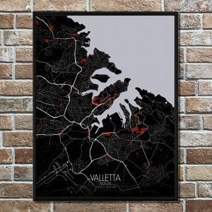 Mapospheres valletta Red dark full page design poster city map
