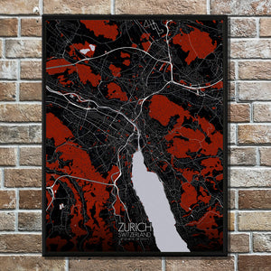 Mapospheres zurich Red dark full page design poster city map