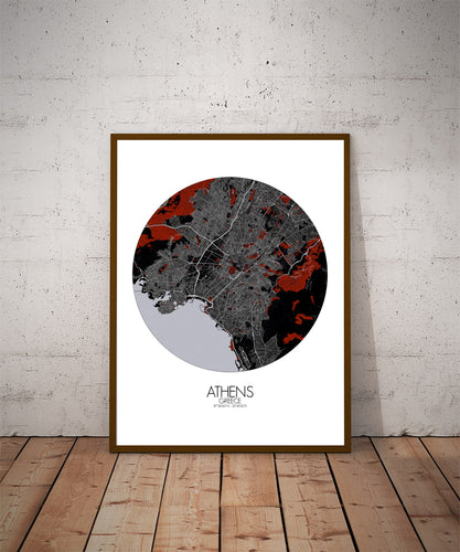 Mapospheres Athens Black and White full page design poster city map