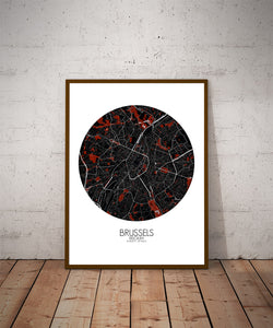 Mapospheres Brussels Red dark round shape design poster city map