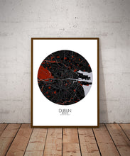 Load image into Gallery viewer, Mapospheres Dublin Red dark round shape design poster city map