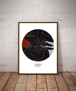 Mapospheres Dublin Red dark round shape design poster city map