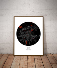 Load image into Gallery viewer, Mapospheres fez Red dark round shape design poster city map
