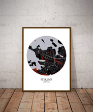 Load image into Gallery viewer, Mapospheres reykjavik Red dark round shape design poster city map
