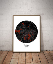 Load image into Gallery viewer, Mapospheres sofia Red dark round shape design poster city map