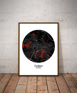 Mapospheres sofia Red dark round shape design poster city map