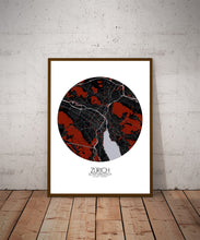 Load image into Gallery viewer, Mapospheres zurich Red dark round shape design poster city map