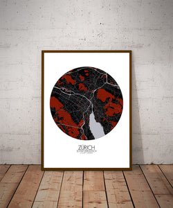 Mapospheres zurich Red dark round shape design poster city map