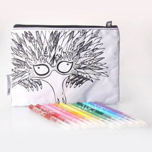Scribbla Colouring in Pencil Case & Fabric Pen Set - Echidna