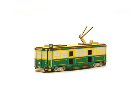 Ki-Gu-Mi Melbourne W-Class Tram Wooden Art Puzzle 3D DIY Model Hobby Build Kit