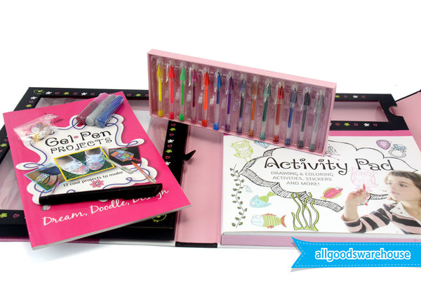 Gel Pen Kit FUN educational KIDS drawing COLOURING activities STICKERS projects
