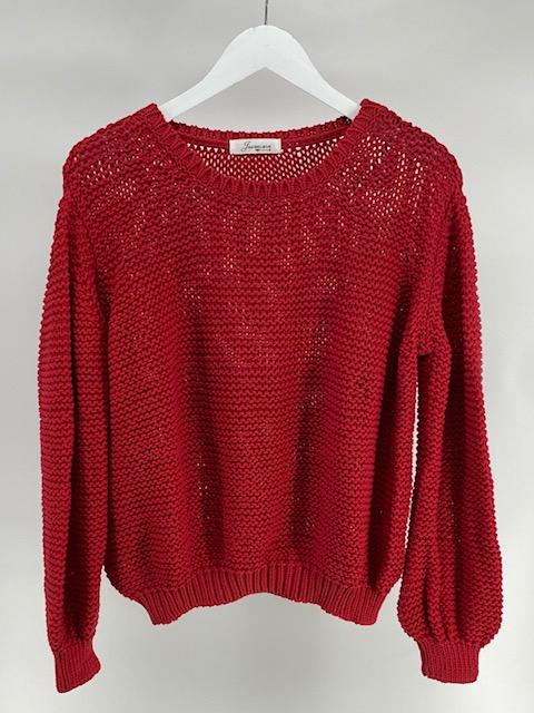 Off Shoulder sweater - Fire Red