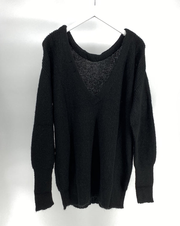 Sweater v-back - Black