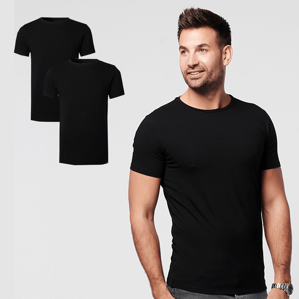 Sustainable t'shirt round neck black 2-pack