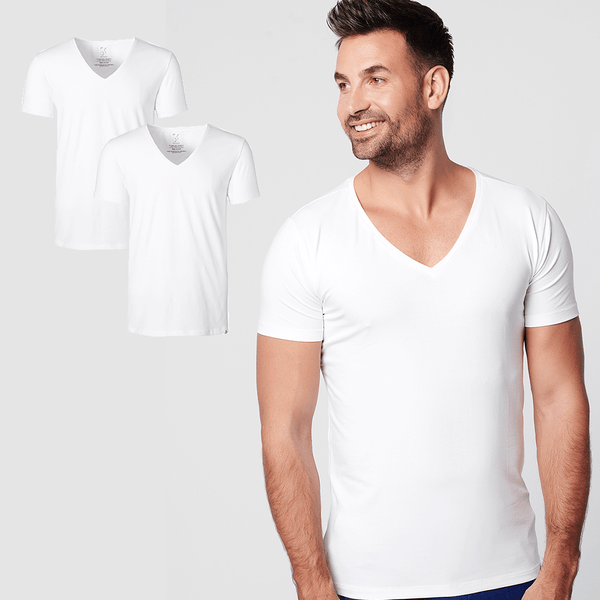 Sustainable t'shirt deep v-neck white 2-pack
