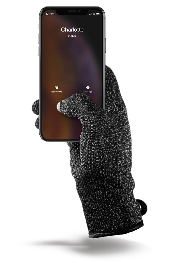 Double-Layered Touchscreen Gloves Black
