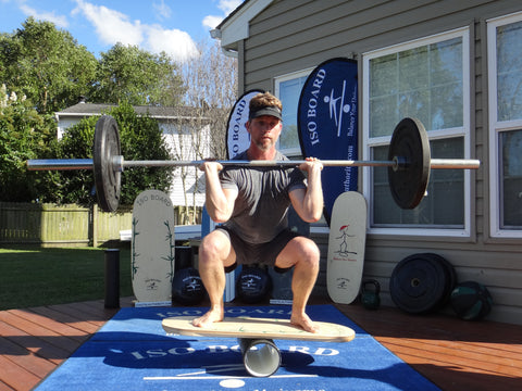 balance board strength training barbell