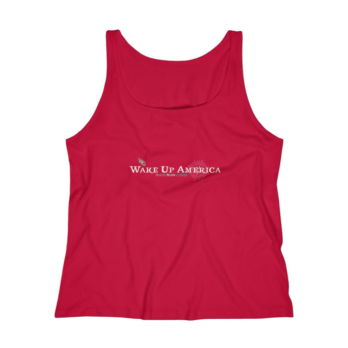 Wake Up America - Women's Relaxed Jersey Tank Top - Logo Front & Back