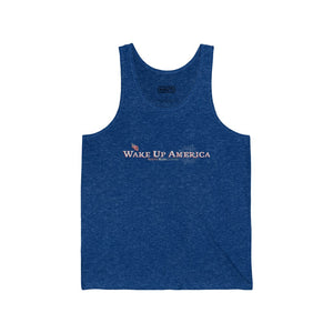 """Wake Up America"" - Men's Jersey Tank - Logo Front & Back"