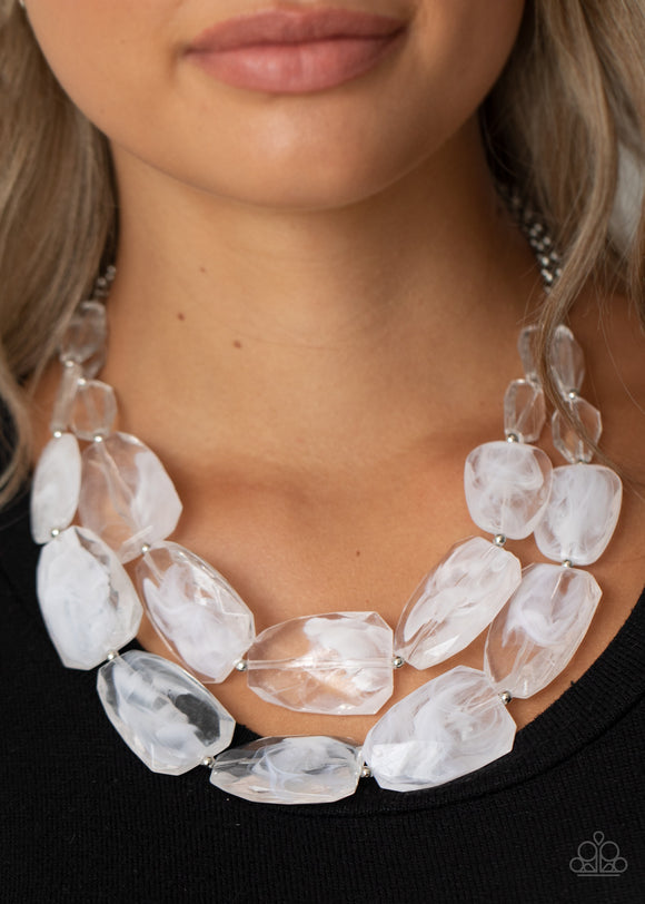 Acrylic white and clear necklace