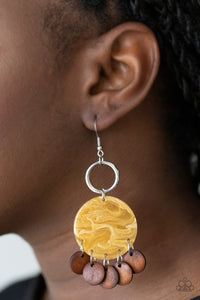 Yellow marble acrylic wood earrings
