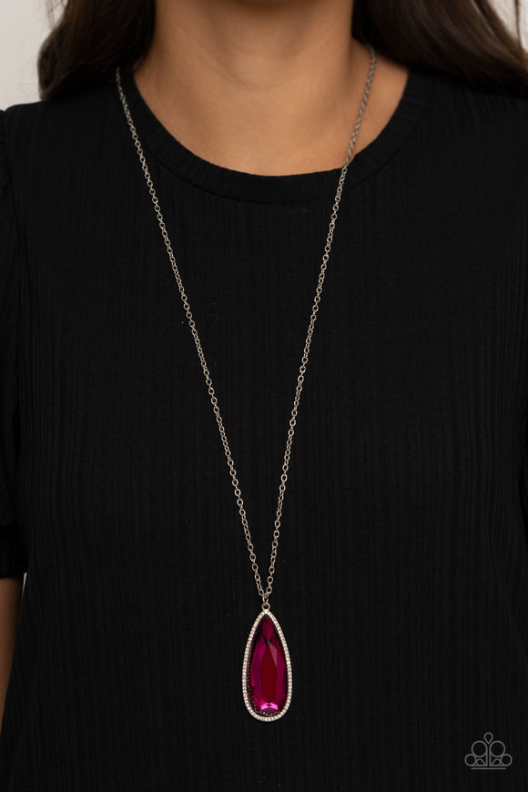 Pink stone pendant long necklace