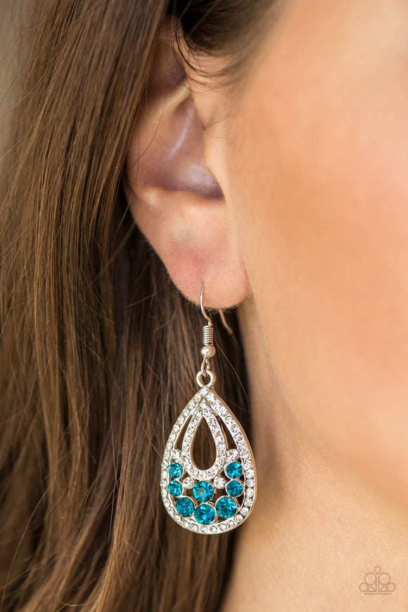 Blue stone rhinestone earrings