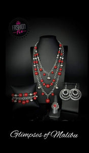 Red beaded set