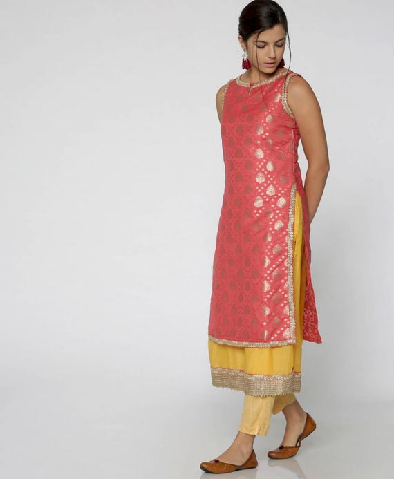 Pink & Yellow Layered Brocade Kurta
