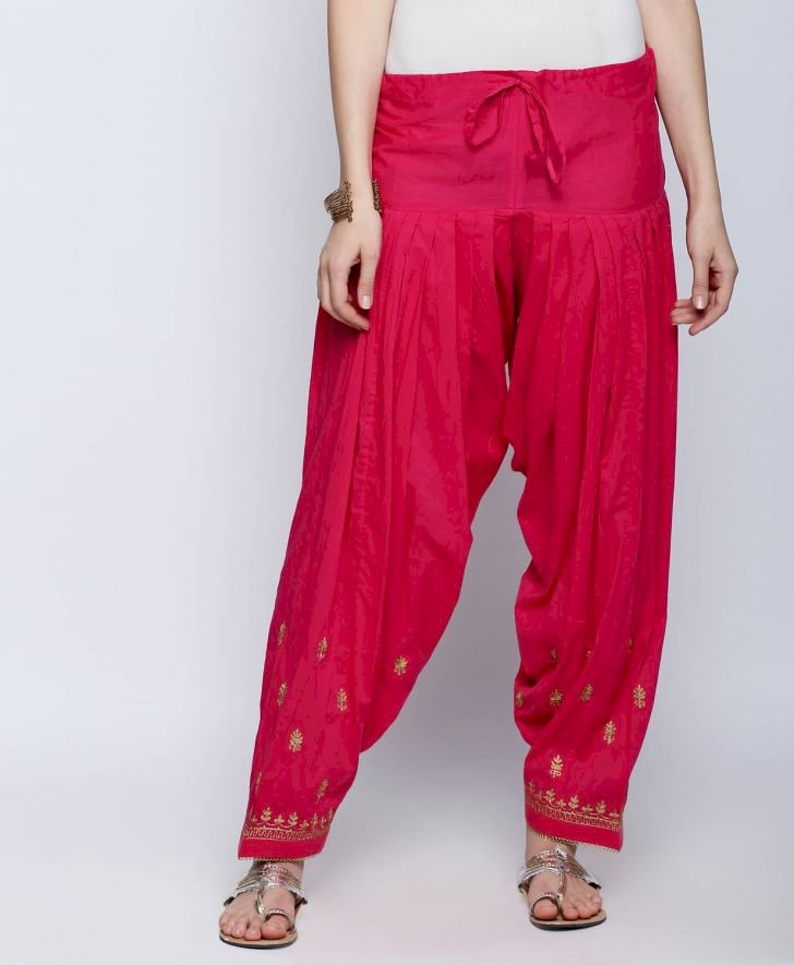 Pink Zari Embroidered Patiala