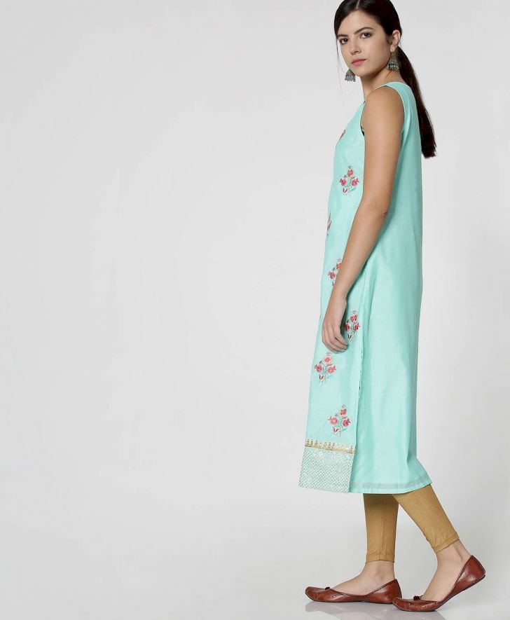 Blue Embroidered Festive Kurta