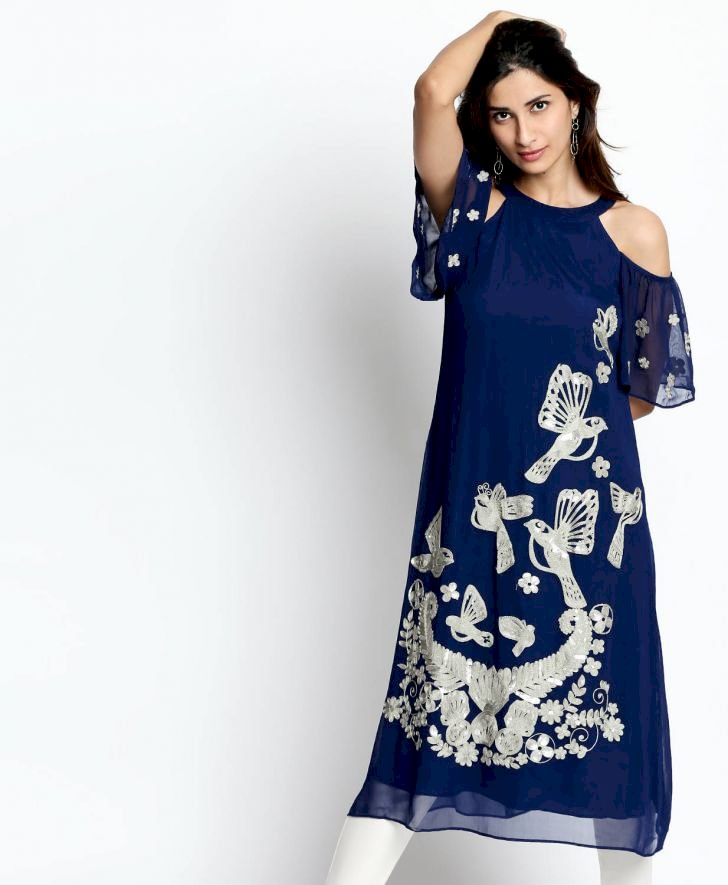 Sequin Embellished Cold Shoulder Kurta