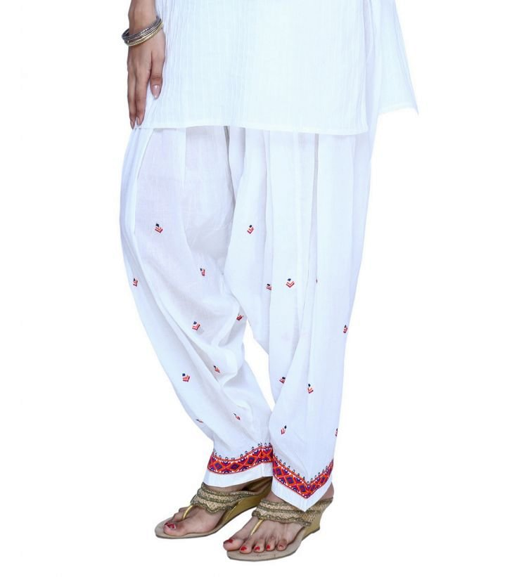 White Cotton Embroidered Patiala